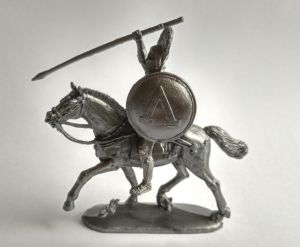 Mounted Greek with a spear